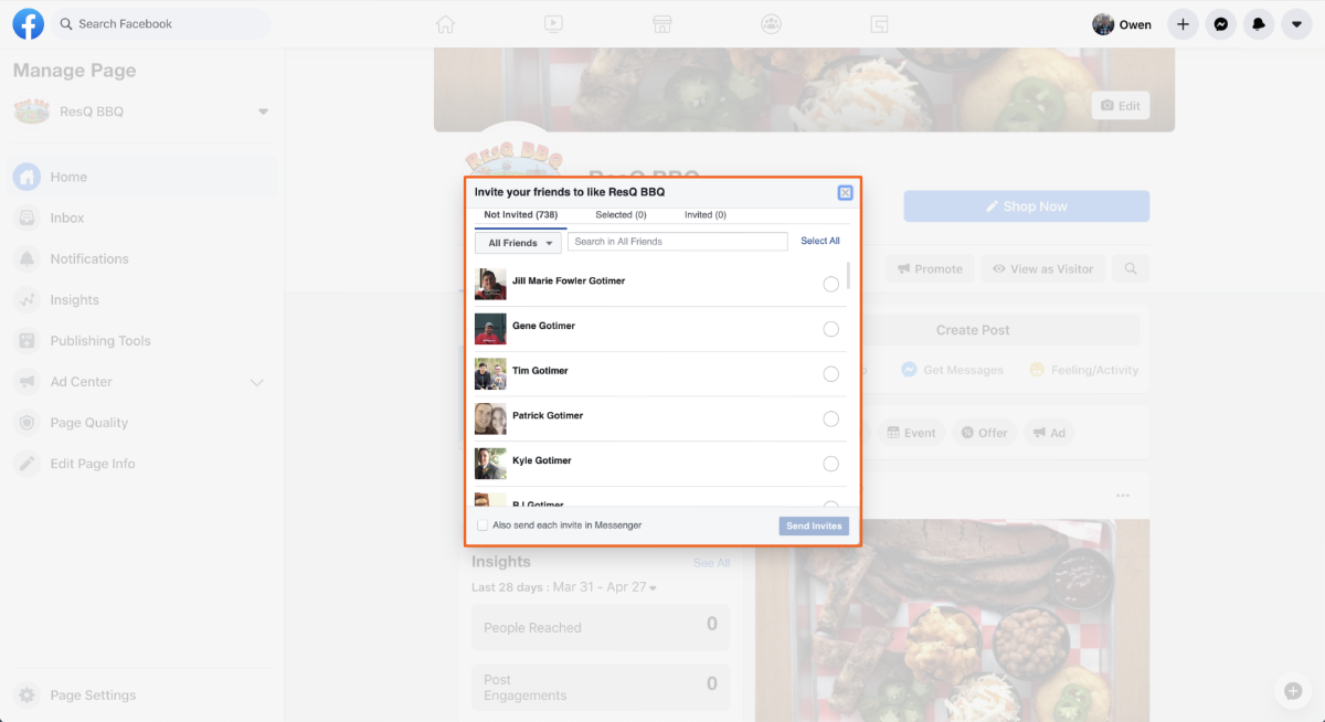 Facebook Select Friends to Invite