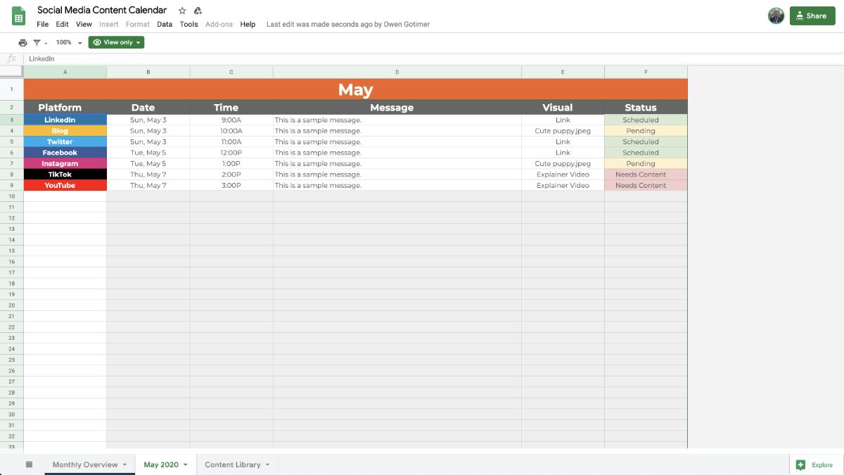 Social Media Content Calendar Detailed Content Plan