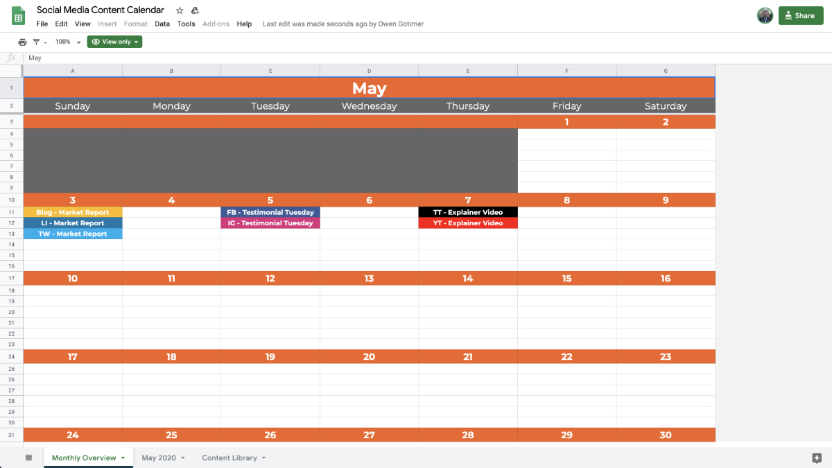 Social Media Content Calendar Monthly Overview