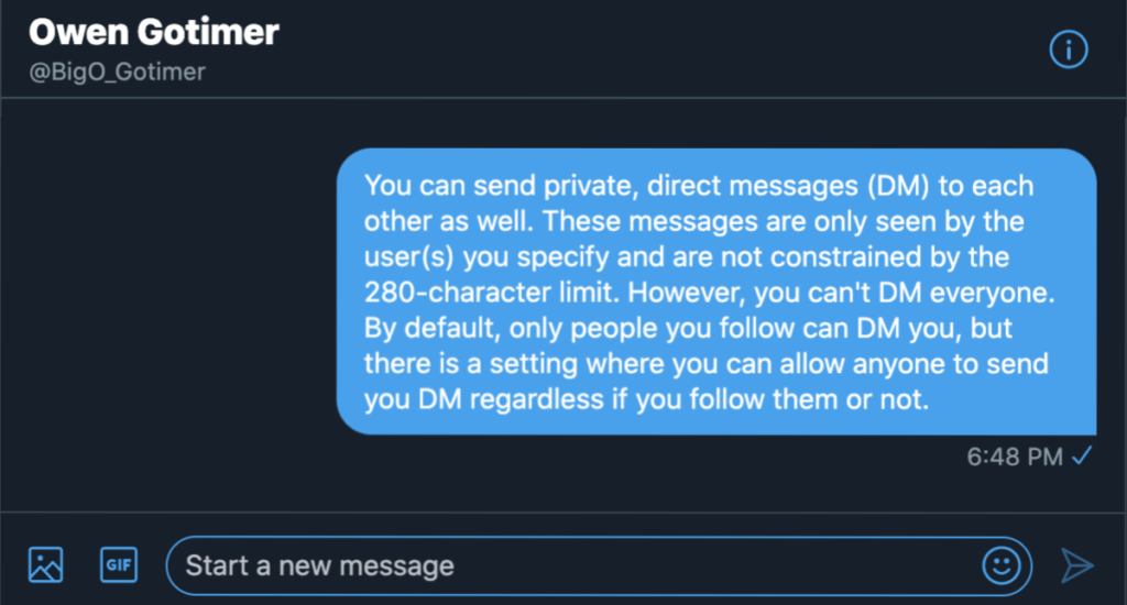 Twitter Direct Message