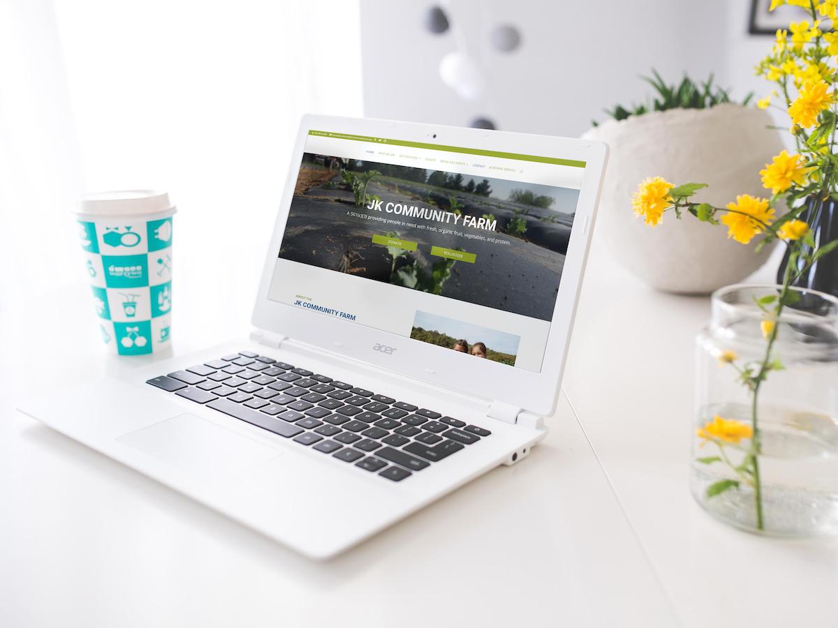 JK Community Farm Website Laptop