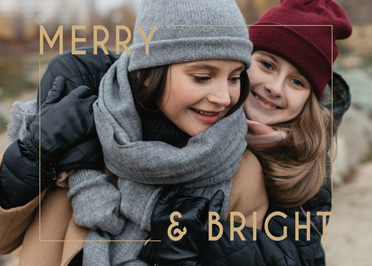 Merry Sparkling Bright Card Template Back
