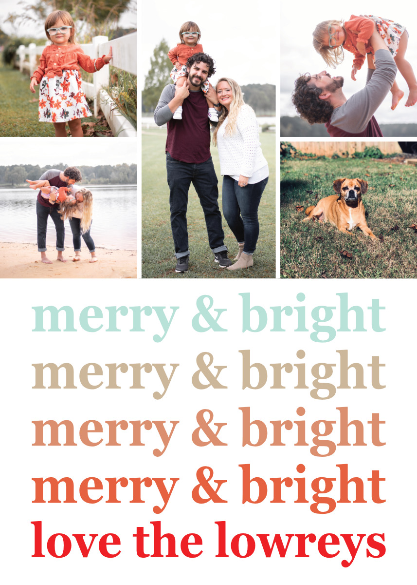 Ombre Merry Bright Card Template Back